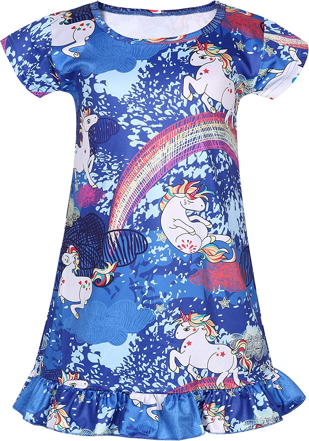 Coralup Little Girls 2-Pack Nightgowns Short//Long Sleeve Mermaid//Unicorn//Fairy Dress Multicolorful,18Months-9Years