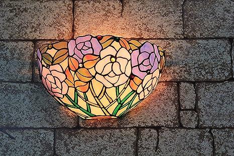 Applique fleur en vitrail tiffany jaune et orangé vitrail et
