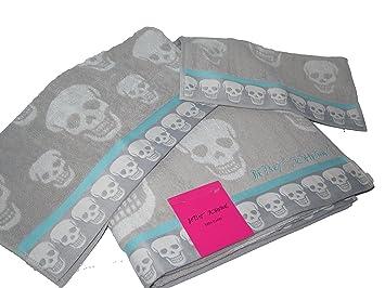 Betsey Johnson Crazy calaveras gris azul toalla de baño gamuza de lavado a mano 3 pc Set: Amazon.es: Hogar
