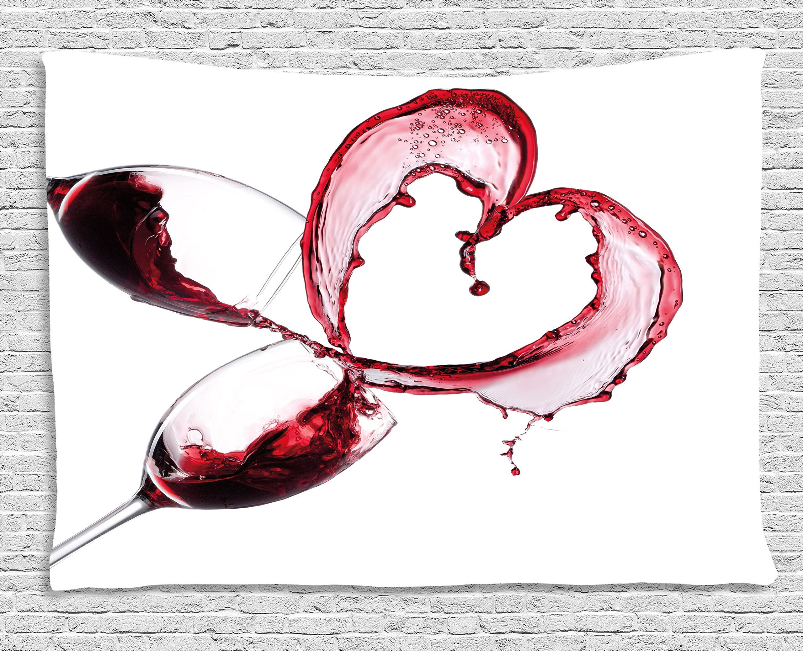 Ambesonne Wine Tapestry, Heart with Spilling Red Wine in Glasses Romantic Love Valentines Day Concept, Wall Hanging for Bedroom Living Room Dorm, 60 W X 40 L inches, Burgundy White Pink