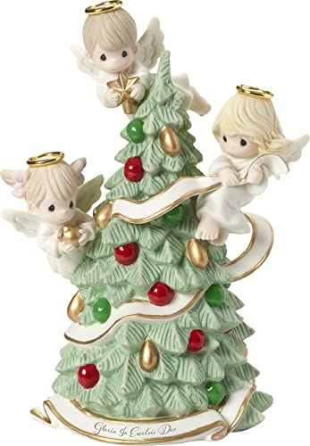 Precious Moments Gloria in Excelsis Deo Angels Decorating Christmas Tree Figurine, Multicolor