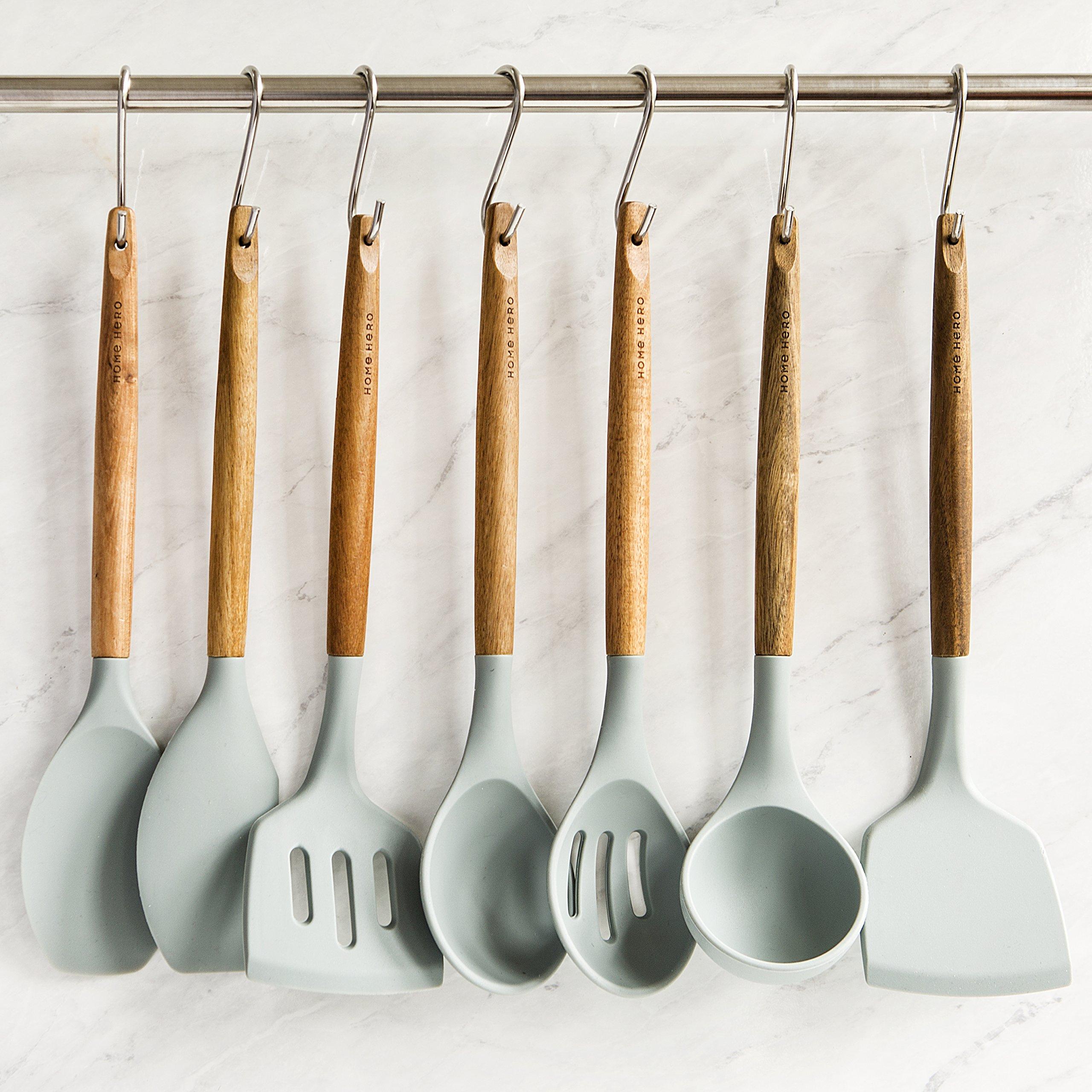Silicone Cooking Utensils Kitchen Utensil set - 8 Natural Acacia Wooden Silicone Kitchen Utensils Set - Silicone Utensil Set Spatula Set - Silicone Utensils Cooking Utensil Set - Kitchen Tools Gadgets by HomeHero (Image #6)