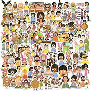 100PCS Bobs Burgers Stickers Pack, Vinyl Waterproof Laptop Stickers Decals Funny TV Show Cartoon Stickers Bomb for MacBook Bottle Luggage Bumper Skateboard Guitar