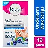 Veet Veet Easy Gel Cold Wax Strips Underarm Sensitive Skin 16's, 0.028 kilograms