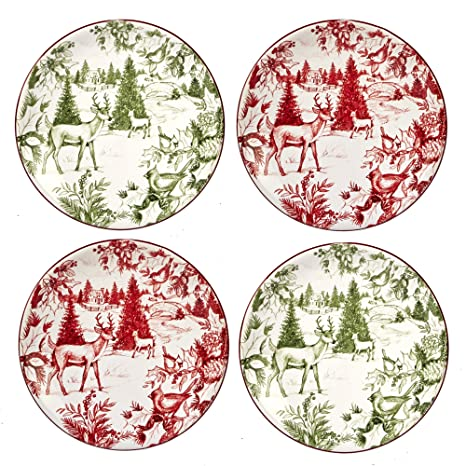 Certified International Winter Field Notes 6u0026quot; Toile Canape Plates Set of 4 2  sc 1 st  Amazon.com & Amazon.com | Certified International Winter Field Notes 6