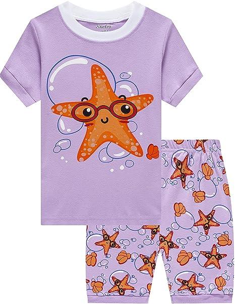 shelry Girls Starfish Pajamas Children Sea Star Sleepwear Kids Summer 100%  Cotton Short Set 2 b31252b04