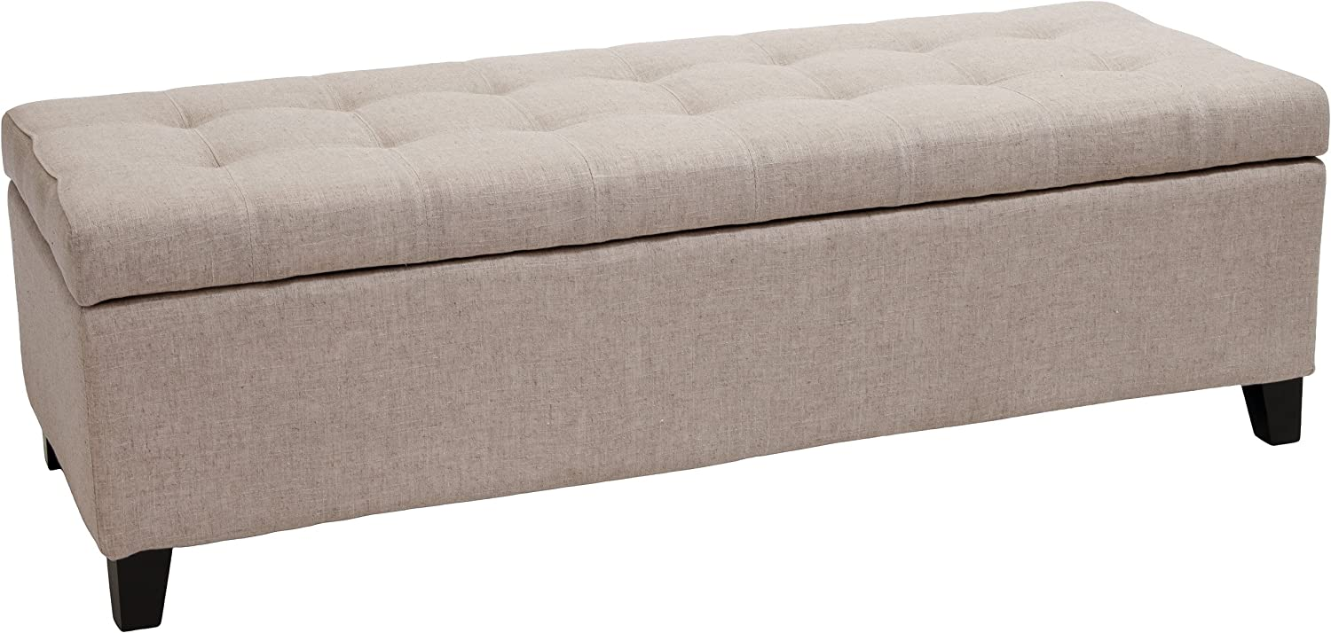 Best Selling Mission Tufted Fabric Storage Ottoman Bench, Beige