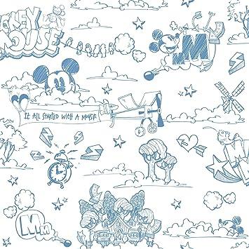 Galerie Official Disney Mickey Mouse Muster Bleistift Cartoon Kinder Tapete  - Blau Weiss MK3014-2