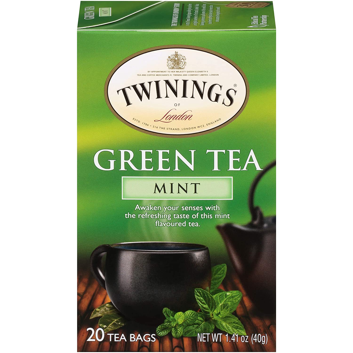 Twinings of London Mint Green Tea Bags, 20 Count