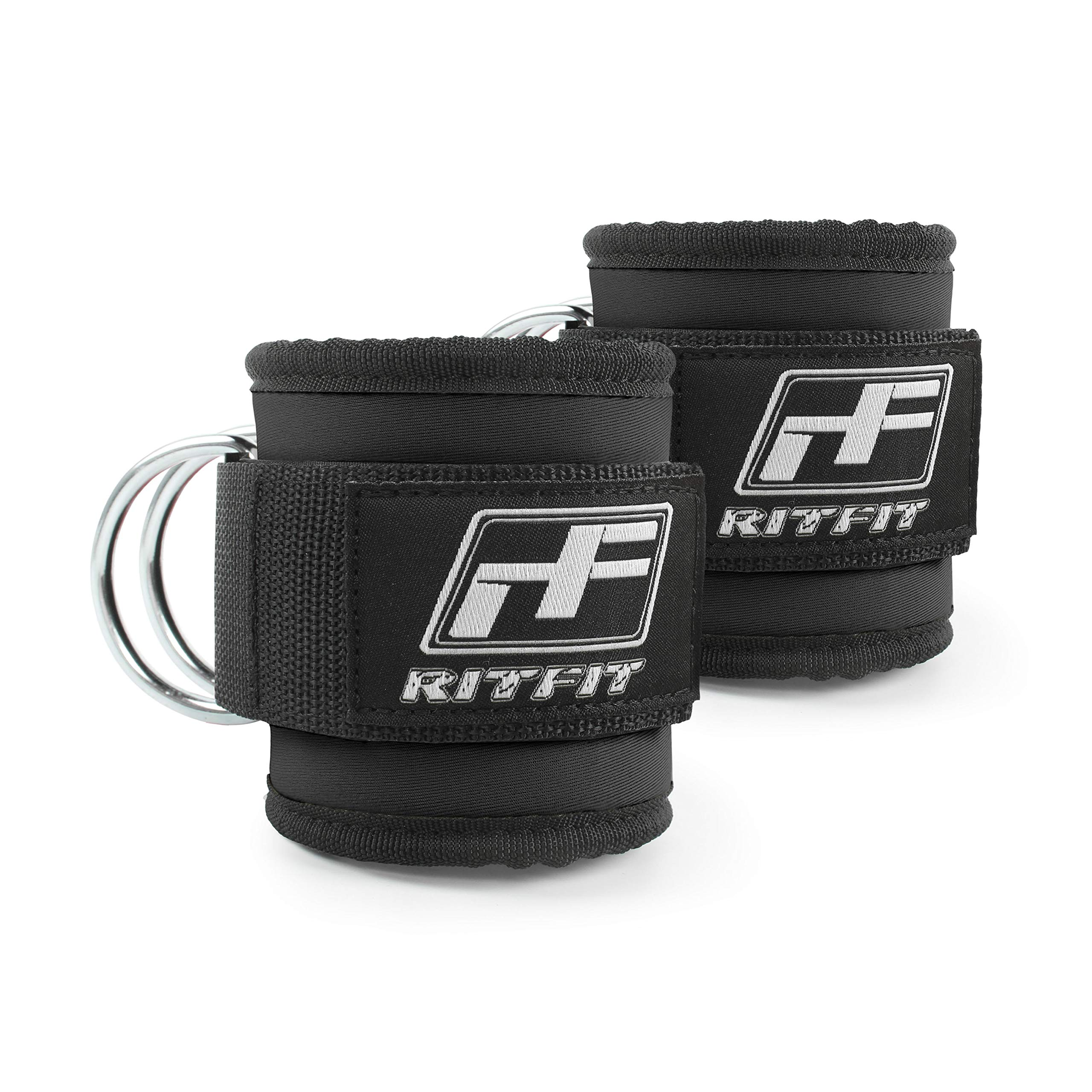 RitFit Fitness Padded Ankle Strap for Cable Machines – Reinforces Double D-Ring, Adjustable Comfort fit Neoprene, Ideal for Glute & Leg Workouts