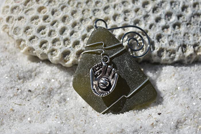 Genuine Surf Tumbled Dark Olive Green Sea Glass Ornament with a Baseball Glove Charm