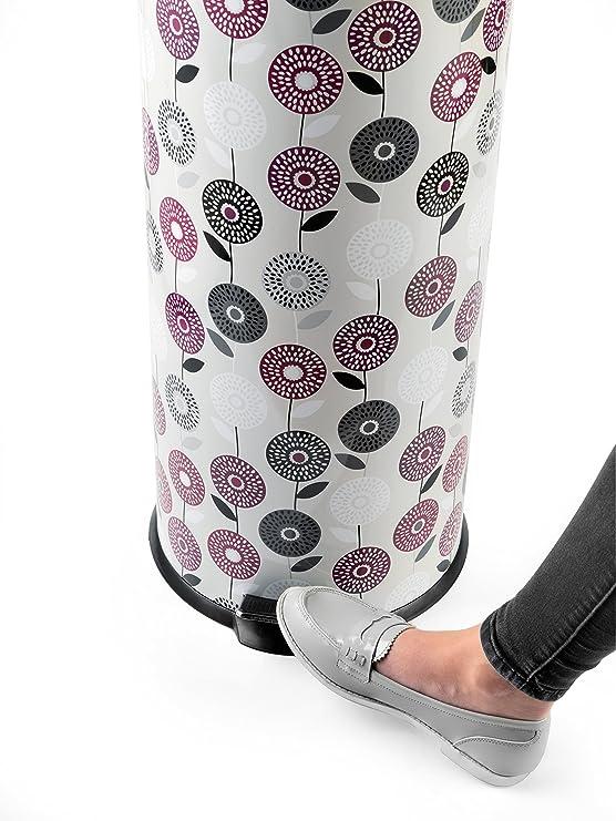 Salter BW04606 - Cubo de basura con pedal, estilo retro, diseño de hojas, metal, Flower Trail, 29.1 x 29.1 x 69 cm: Amazon.es: Hogar