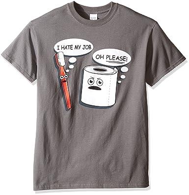 34aca402e4 Amazon.com: T-Line Men's Funny Hate My Job Toothbrush Graphic T-Shirt:  Clothing