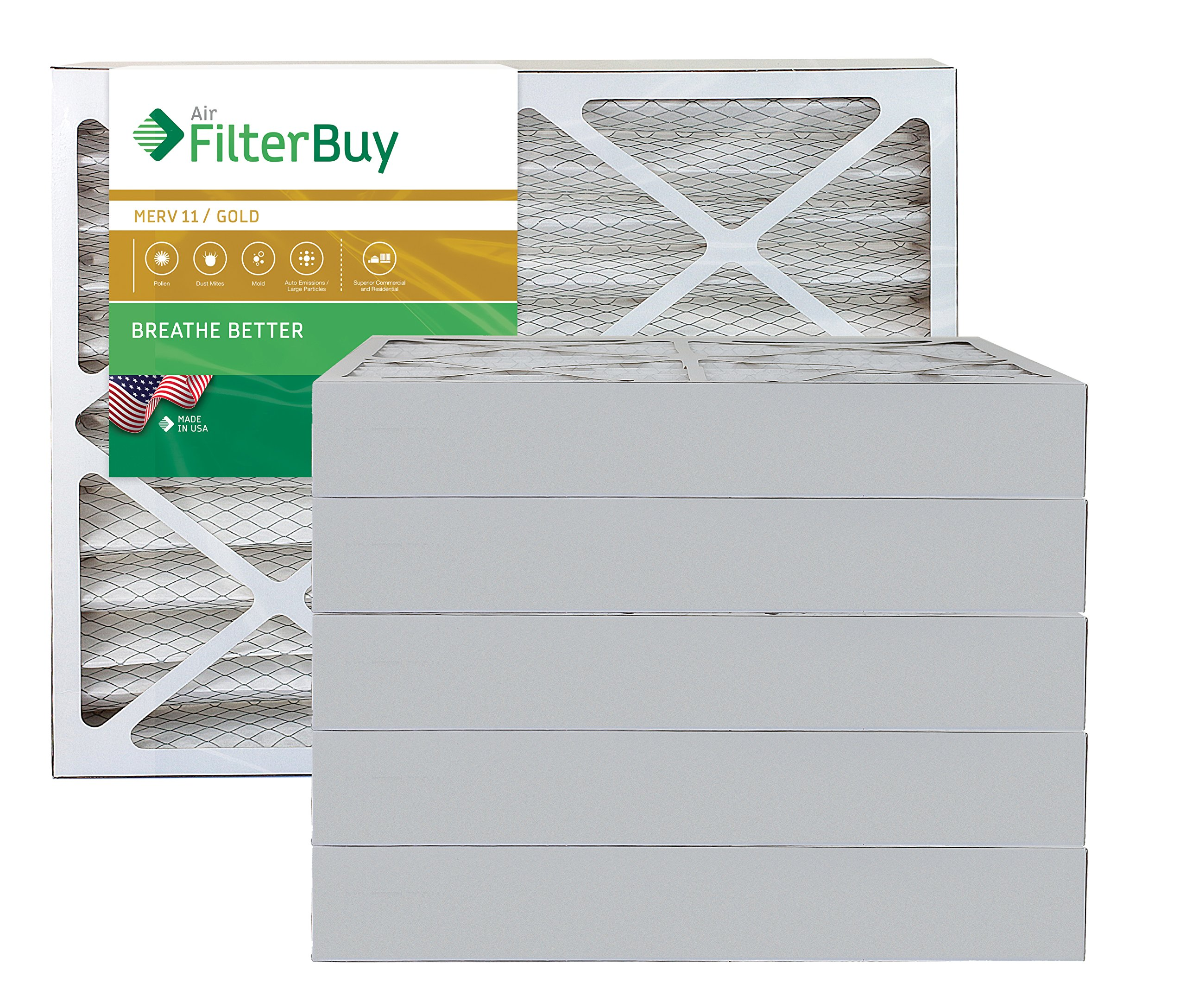 AFB Gold MERV 11 24x24x4 Air Filter., Furnace Filter., AC Filter. Pack of 6 Filters. 100% produced in the USA.