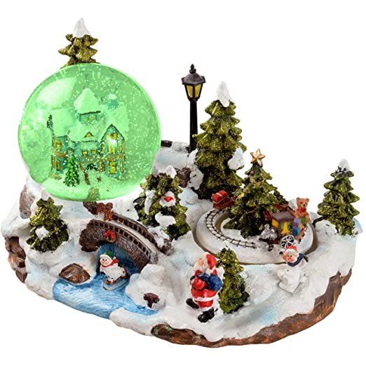 werchristmas 25cm santa scene animated snow globe christmas decoration with revolving train and onoff - Animated Christmas Scene Decorations