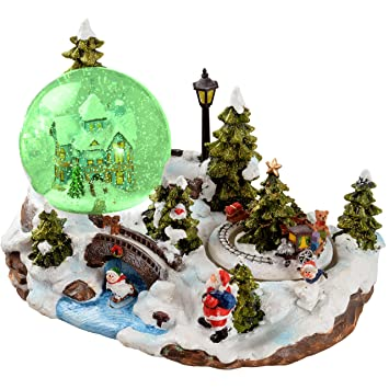 werchristmas 25 cm santa scene musical animated snow globe christmas decoration with revolving train - Musical Animated Christmas Decorations