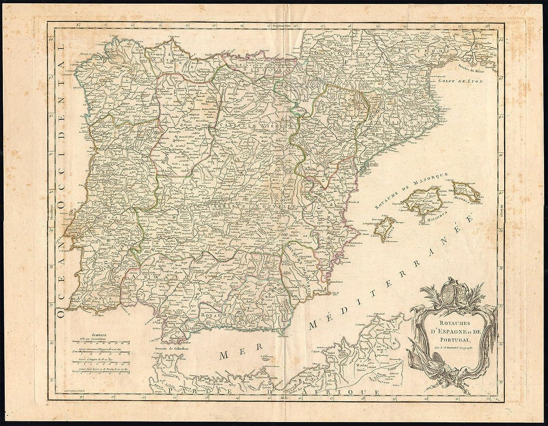 Mapa antiguo - portugal-gibraltar-españa-ibérico Vaugondy-1770 península-de: Amazon.es: Hogar
