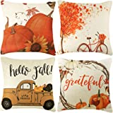 CDWERD 4pcs Fall Pillow Covers Thanksgiving Farmhouse Decorative Autumn Theme Throw Pillow Covers Cotton Linen Cushion…