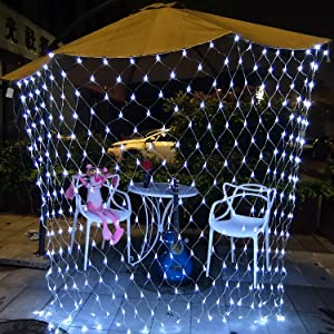 DealBeta Led Net Lights with Remote,9.8ft x 6.6ft 200 LEDs Net Mesh Tree-wrap Lights,Battery Operated,8 Modes Dimmable String Lights for Party Christmas Wedding Garden Home Patio Lawn