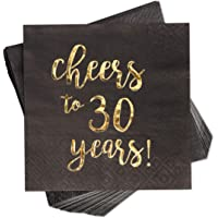 Blue Panda 100-Pack Gold Foil Paper Cocktail Napkins with Cheers to 30 Years! for Birthday and Anniversary Party…