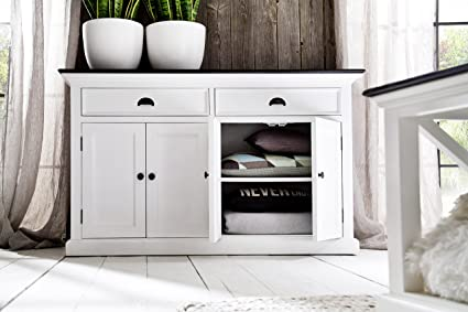 Superieur NovaSolo Halifax Contrast Pure White Mahogany Wood Sideboard Dining Buffet  With Storage And 2 Drawers