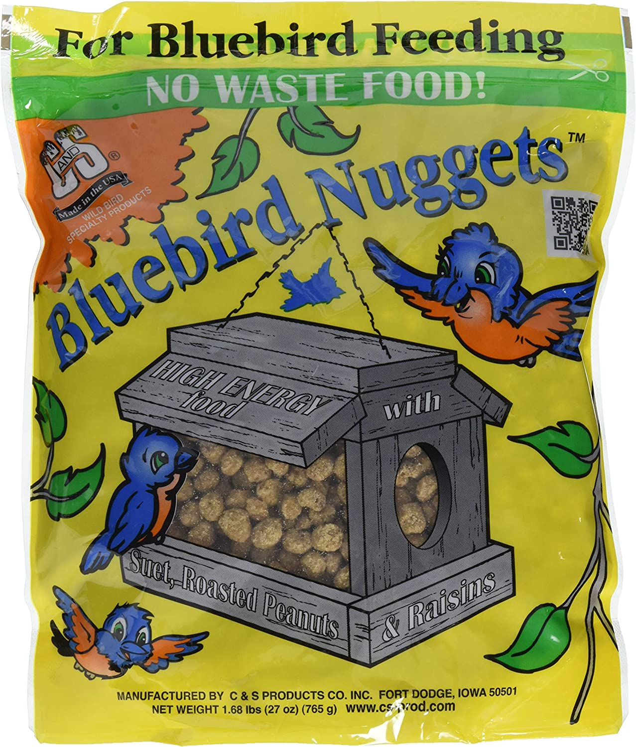 C&S Products Company 791043470539 C & S Products Blue Bird Nuggets Plus Beef Suet,Corn,Peanuts,Raisins 2, 2 Pack, Brown/A