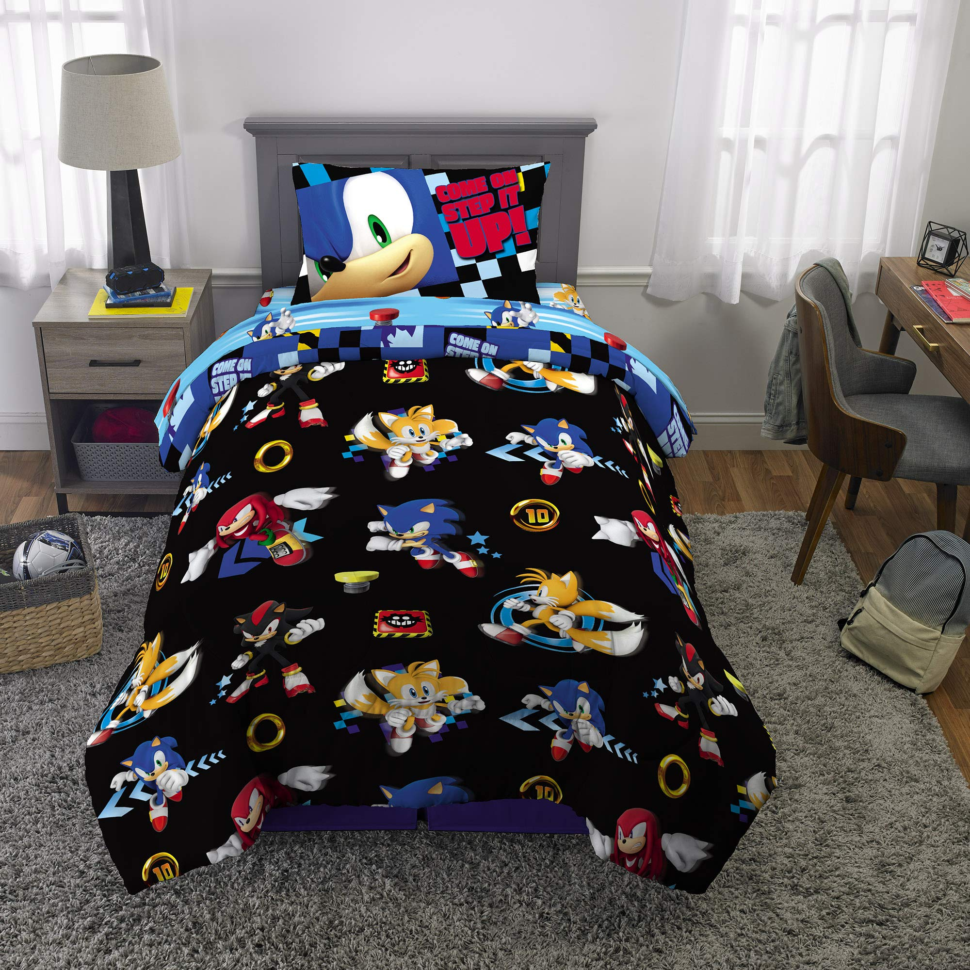 Franco Kids Bedding Super Soft Comforter and Sheet Set, 4 Piece Twin Size, Sonic The Hedgehog by Franco