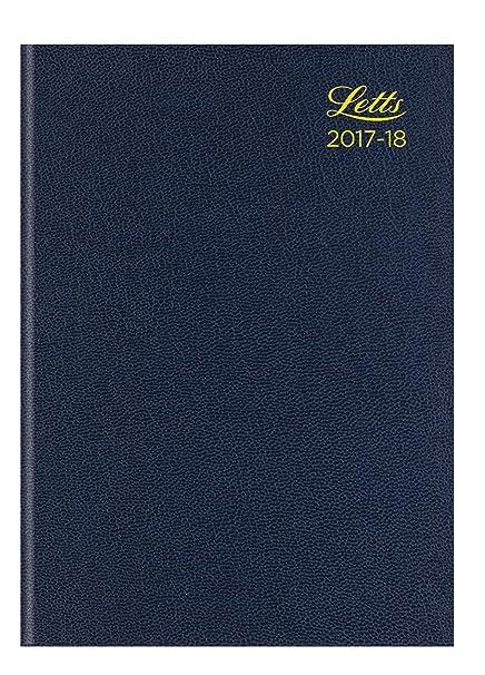 Letts A5 estándar académico 17 – 18 A vista semanal 13 meses), color azul