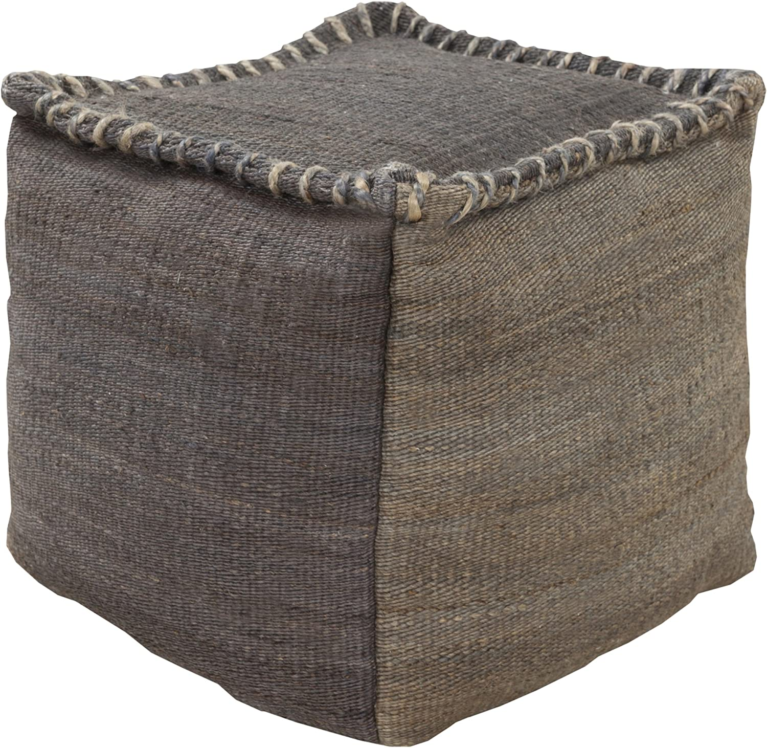 Amazon Com Surya 100 Percent Jute Pouf 18 Inch By 18 Inch By 18 Inch Charcoal Gray Furniture Decor