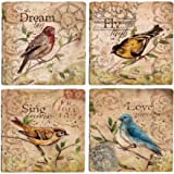 Thirstystone AWTF17 Ambiance Travertine Song Birds Coasters, Multicolor