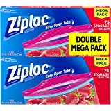 Ziploc Storage Bags, Gallon, Mega Pack, 75ct (Pack of 2)