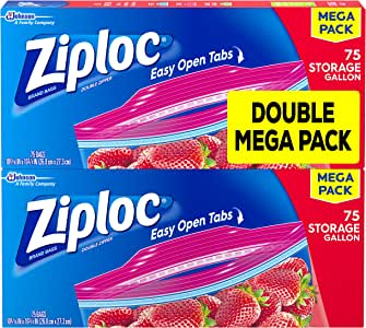 Ziploc Storage Bags with New Grip 'n Seal Technology, For Food, Sandwich, Organization and More, Gallon, 75 Count, Pack of 2 (150 Total Bags)