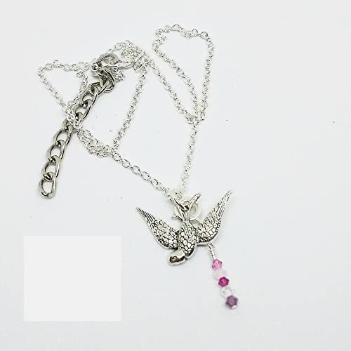 1b07cb2193d5 Image Unavailable. Image not available for. Color  Silver bird necklace  with pink Swarovski crystals