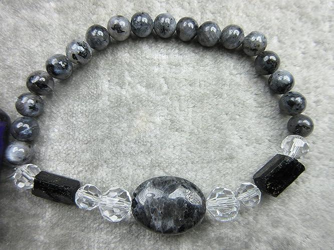 Amazon com: Genuine Larvikite and Black Tourmaline Healing Bracelet
