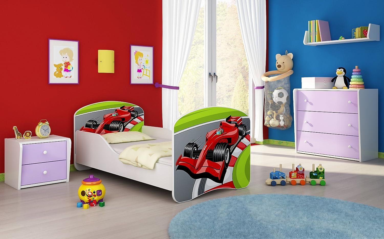 Letto per bambino Cameretta per bambino con materasso Cassetto ACMA I 06 Formula 1, 180x80 + Cassetto