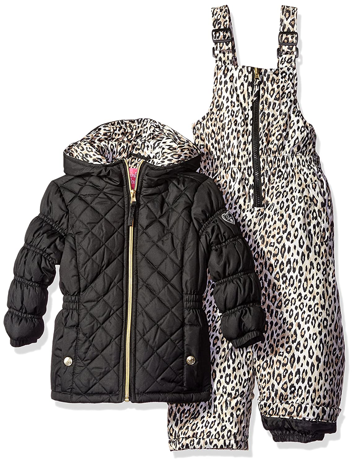 Pink Platinum girls Quilted Snowsuit With Cheetah Print 78390