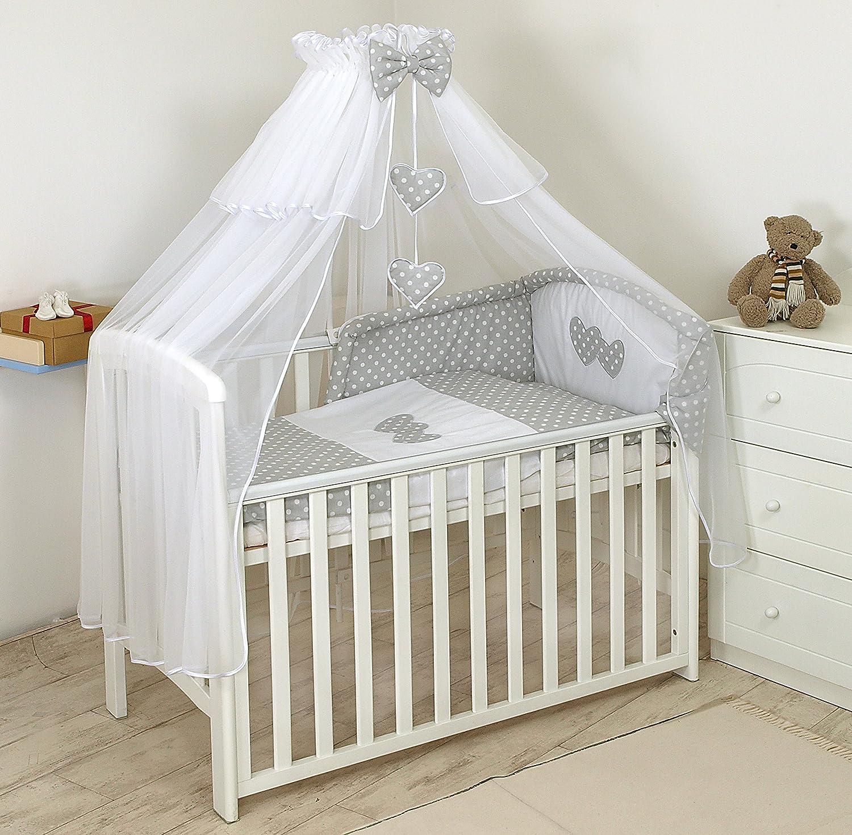 soporte 120x60cm, Gris De Topos dosel Lujo 11 Piezas juego de ropa de cama para cuna de beb/é cama edred/ón