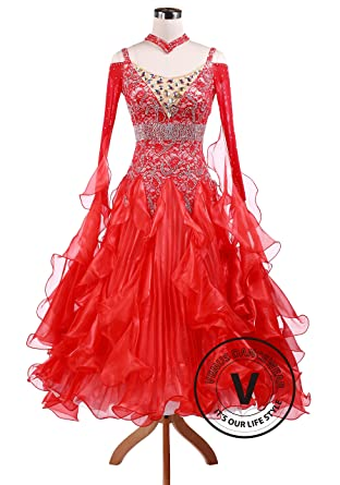 27708e47ad8 Amazon.com  Venus Dancewear Bright Red Waltz quickstep Competition Ballroom  Dance Dress  Clothing