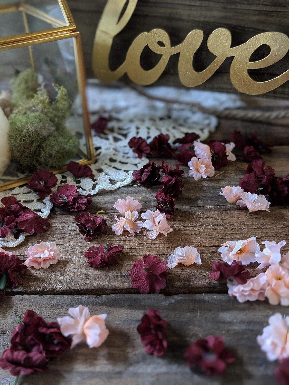 Flower Confetti, Wedding Table Decor, Bridal Shower Decor, Floral Baby Shower Decorations, Babys Breath Burgundy and Blush