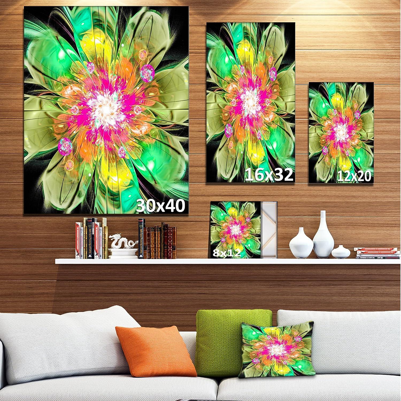 Designart Pt12158 16 32 Green Fractal Flower Petals Close Up Floral Canvas Artwork Print 16x32 Posters Prints