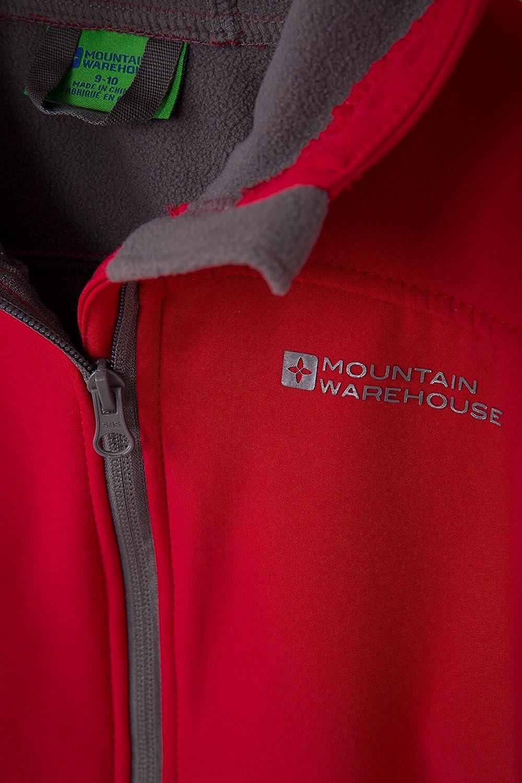 Manteau Respirant imperm/éable r/ésistante au Vent Doublure en Polaire l/école pour Les Voyages Mountain Warehouse Veste /à Capuche Exodus Softshell pour Enfant