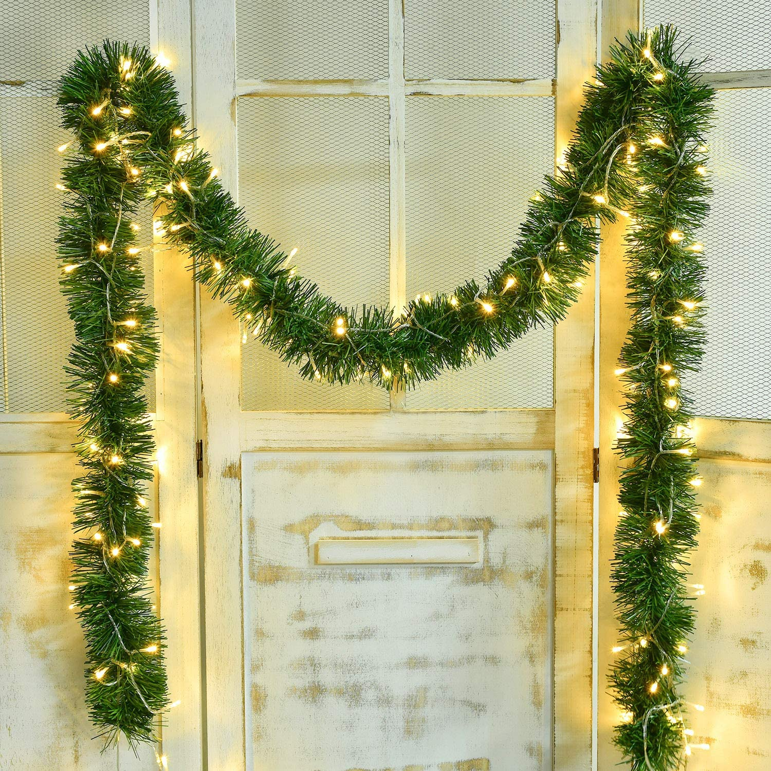 Artiflr 16.4 Foot Christmas Garland with 40 LED Light, Artificial Pine Garland Holiday Decor for Outdoor or Indoor Artificial Green Greenery, or Fireplaces Holiday Party Decorations