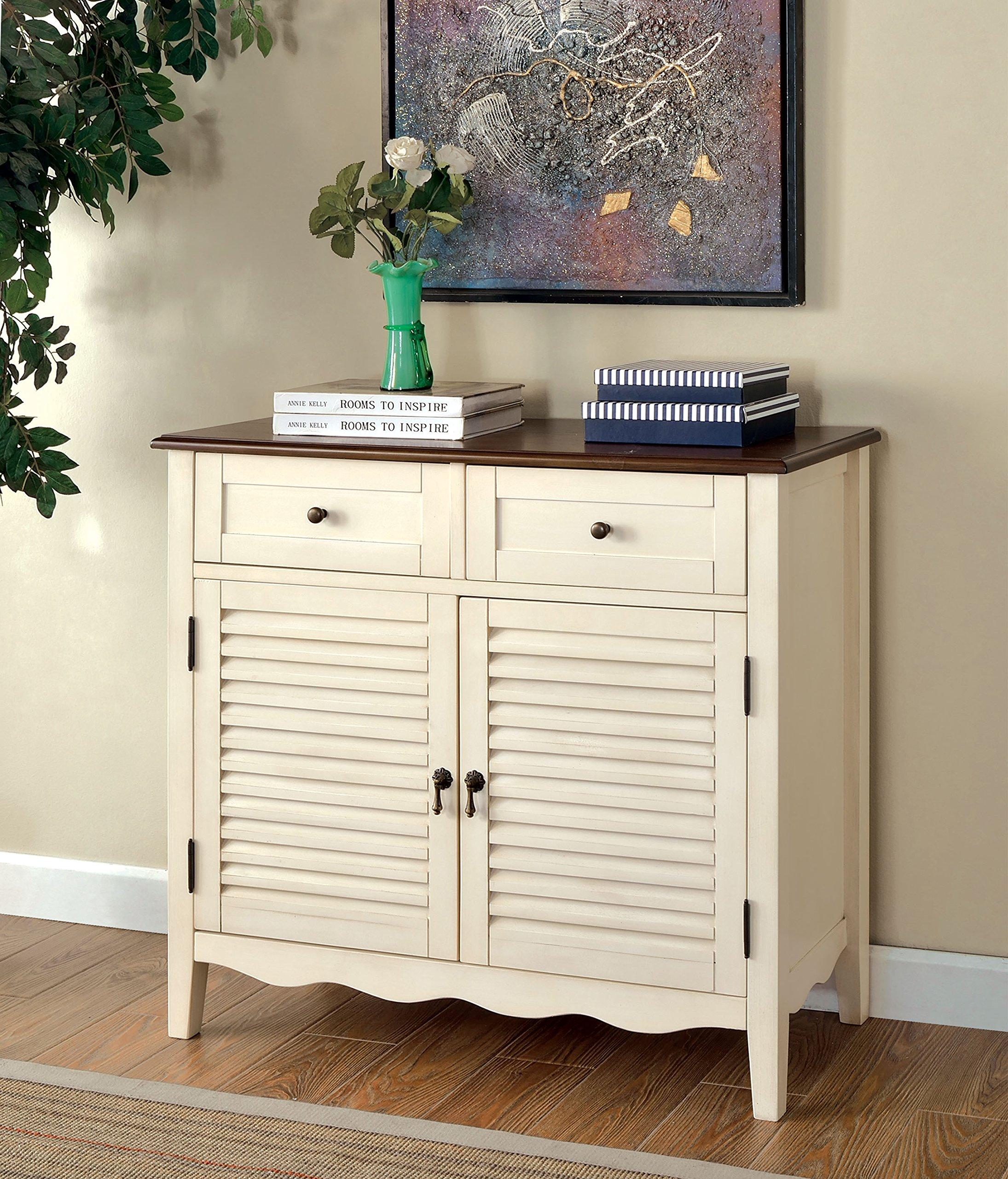 Furniture of America Mallia Country Louver Storage Cabinet, White by Furniture of America