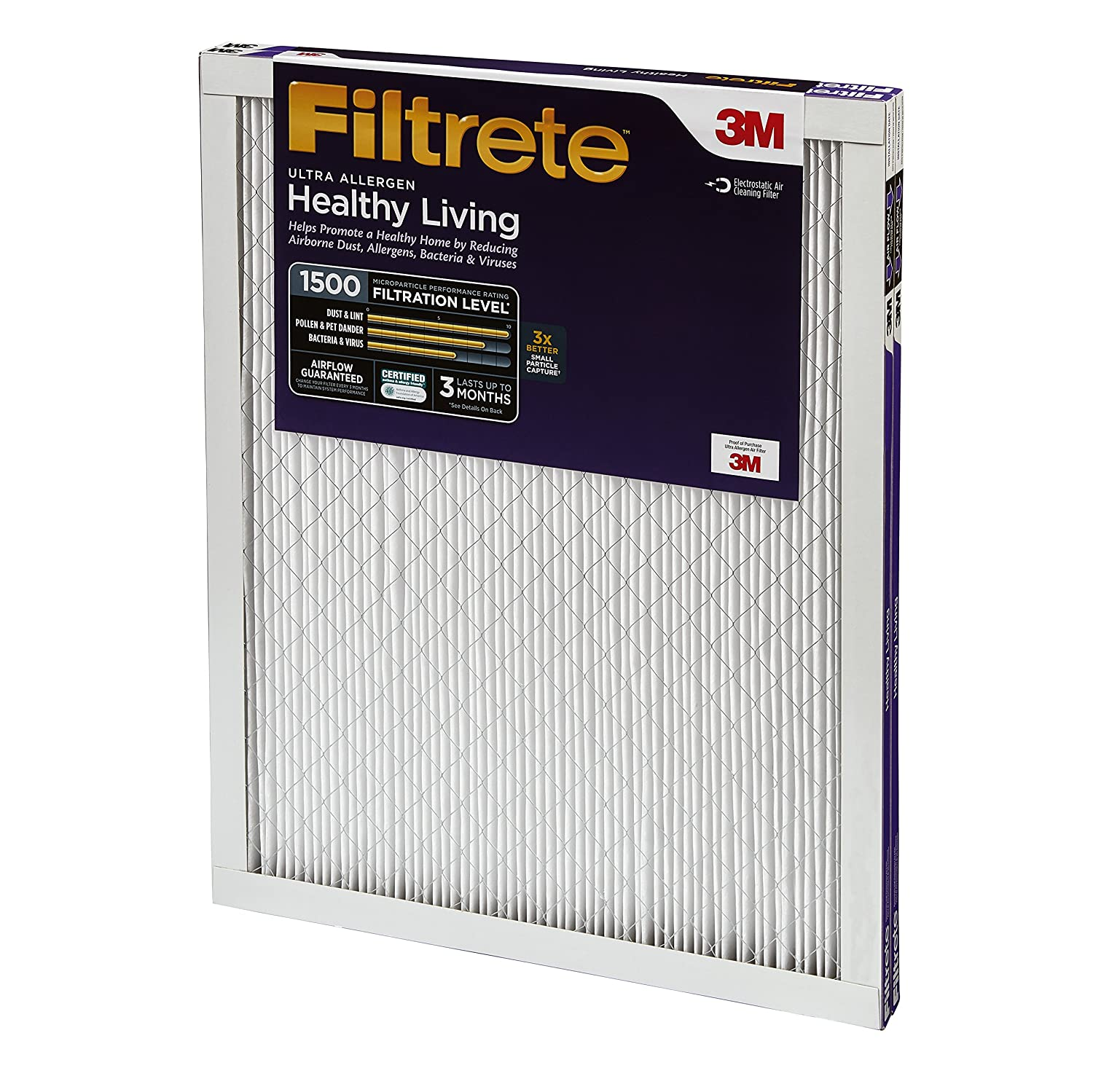 Amazon.com: Filtrete Healthy Living Ultra Allergen Reduction AC Furnace Air  Filter, MPR 1500, 12 x 24 x 1, 2-Pack: Home Improvement