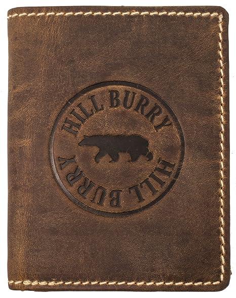 Hill Burry Cartera de cuero Genuino | Hombre Monedero - Monedero Varón | Portamonedas de cuero