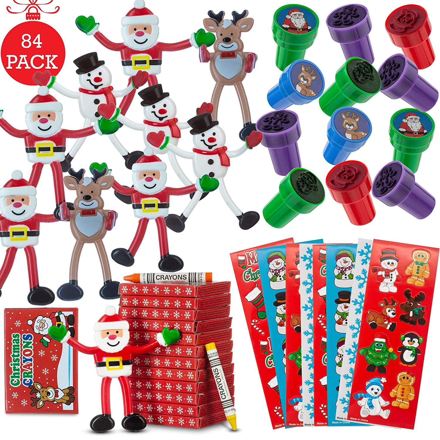 FAVONIR Christmas Party Favor Stuffers 84 Pcs Goody Bag Assortment Bendable Characters Self Ink Stampers Crayons Colorful Holiday Theme Sticker Assortment Kids Activity Toys And Fun Reward Prizes