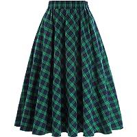 Kate Kasin Women's Plaid Pattern Vintage A-Line Flared Skirt KK633