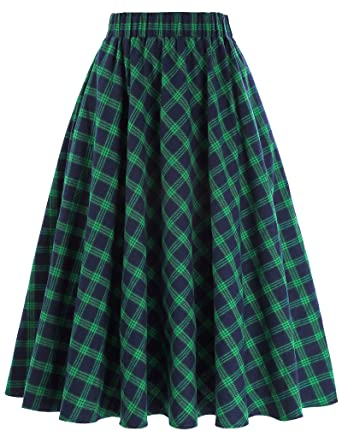 Just Retro Womens Skirt Belt Decorated Cotton Flared A-line Swing Skirt Women's Clothing