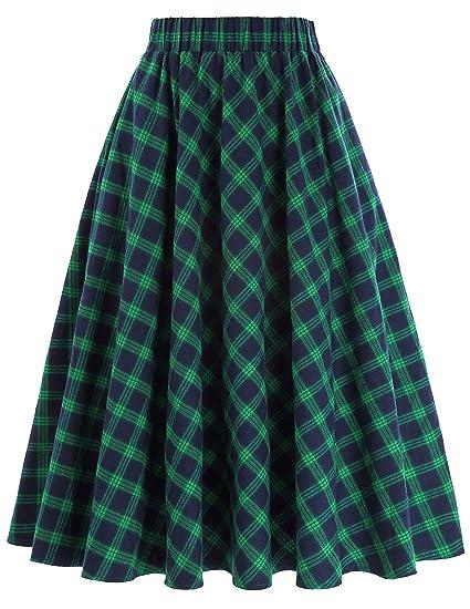 2b2dd23f49f9f Kate Kasin Women's A-Line Vintage Skirt Grid Pattern Plaid KK633/ KK495