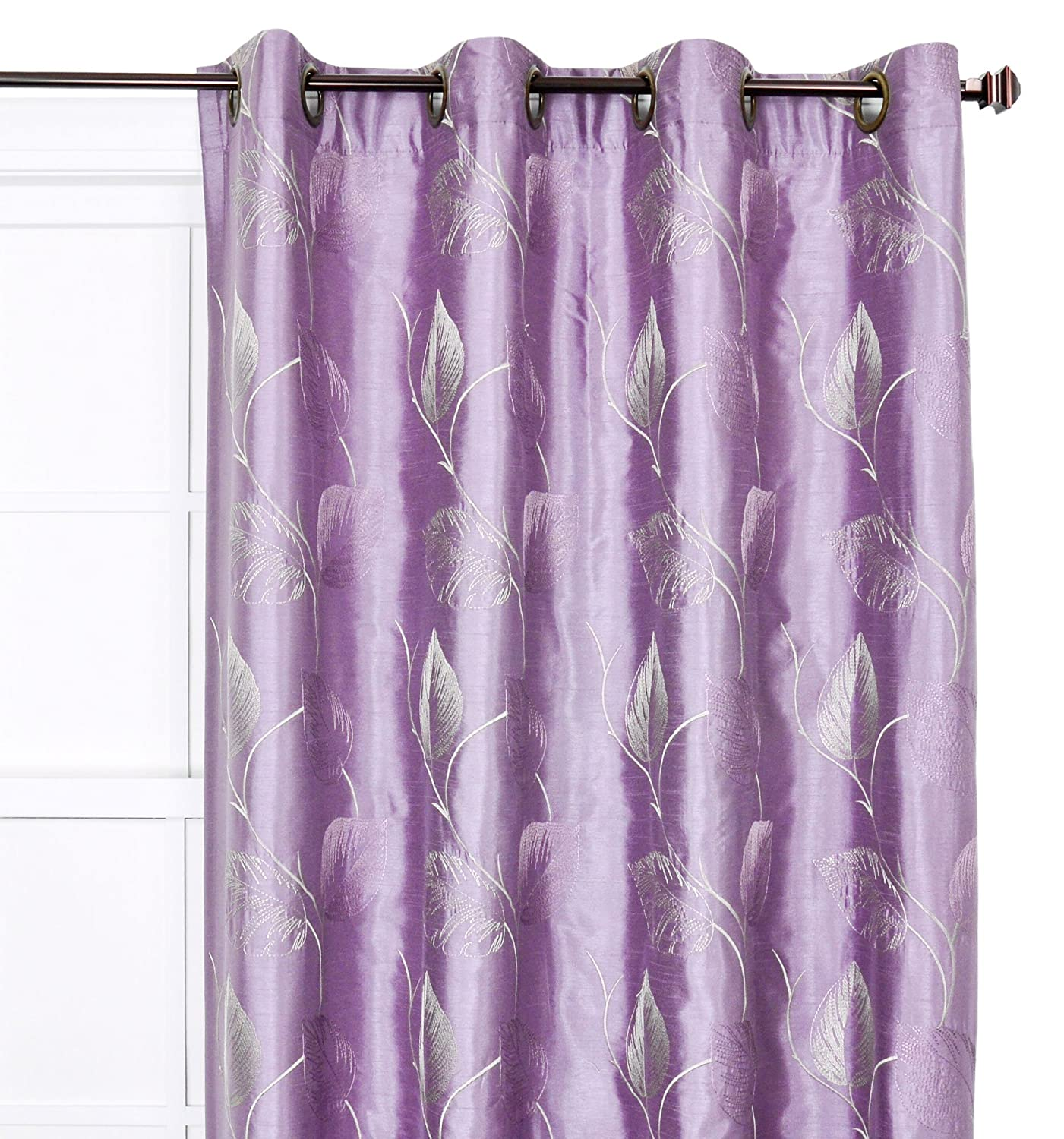 Ellis Curtain Astonish 50 by 63-Inch Embroidered Leaf Grommet Top Lined Window Treatment Panel, Mocha 752710